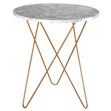 gold metal side table light coloured marble and gold metal side table maisons du monde