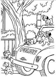 dalmatians police car coloring free printable coloring