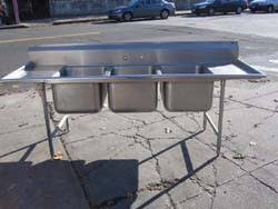 used 3 compartment stainless steel sink 3 compartment stainless steel sinks will fit full size sheet pans