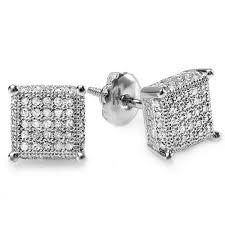 diamond stud earrings for men 0 50 carat ctw sterling silver white real diamond