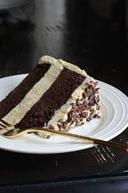 chocolate honey layer cake with salted honey flour buttercream