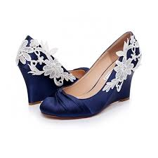 wedding shoes navy women s navy wedding shoes satin lace wedge heels pumps with bow