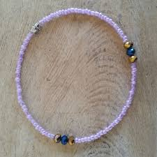 pink beads bracelet images Pink beads with crystals anklet exotic body beads png