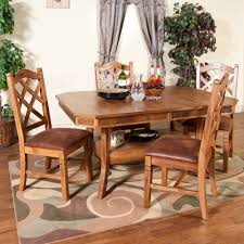 sedona wood double leaf dining table u0026 chairs in rustic oak