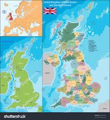 Britain Map Map United Kingdom Great Britain Northern Stock Illustration