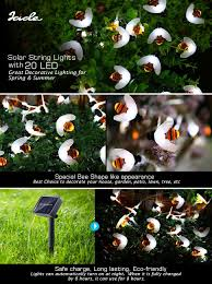 Solar String Lights For Gazebo by Amazon Com Icicle Solar String Lights 20 Led Bumble Bee Shape