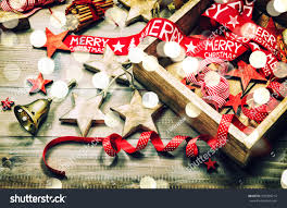 decoration ornaments on rustic wooden stock photo