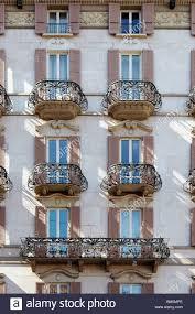 Beautiful Balcony Building With Beautiful Balconies In Lugano Switzerland Stock
