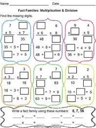 division fact worksheet worksheets