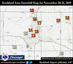 Rockford Il Zip Code Map by November 20 21 2015 Snow Storm