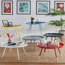 Coffee Table Trays by Mid Century Living Marcella Paint Dipped Round Spindle Tray Top