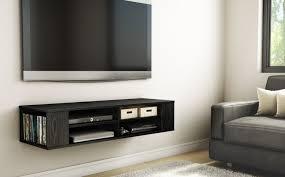 tv black media floating entertainment center shelf cabinet office