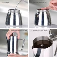 ecooe stainless steel moka pot stovetop espresso maker coffee