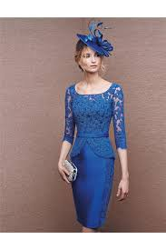 column short royal blue satin lace peplum evening dress with sleeves
