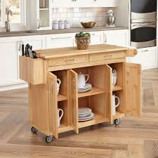 Microwave Cart Home Depot Home Styles Natural Kitchen Cart With Breakfast Bar 5023 95 The