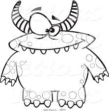 Halloween Cartoon Monsters by Vector Of Cartoon Spotted And Horned Monster Outlined Coloring