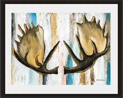 Modern Wall Art Moose Antler Painting Woodland Animals Acrylic Painting On Paper