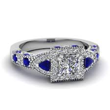 blue and white engagement rings platinum princess cut prong blue sapphire halo engagement rings