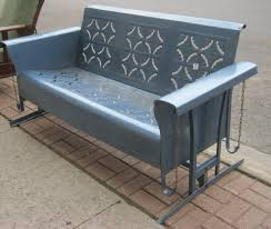 furniture retro grey metal porch swing glider design ideas