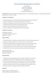 Administrative Secretary Resume Sample Administrative Secretary Resume Sample Find Course Work