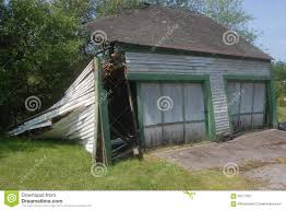 abandoned two car garage collapse bursting stock photo image