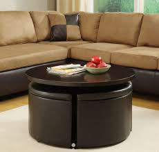 coffee table attractive brown leather ottoman coffee table 5 piece