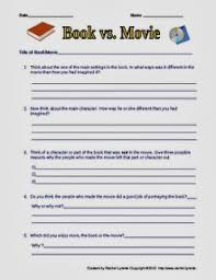 classroom freebies compare contrast books and movies printable
