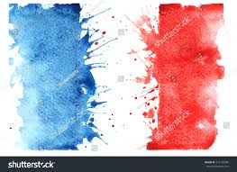 Frebch Flag Handdrawn Sketch French Flag Characteristic Watercolor Stock