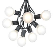 100 frosted white g50 globe string light set on black wire
