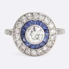 art deco sapphire u0026 diamond target ring u2013 butter lane antiques