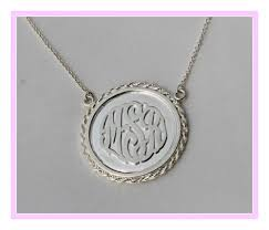 monogrammed pendant pendant with raised monogram