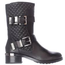 Vince Camuto Welton Quilted Mid Calf Motorcycle Boots Black Vintage