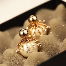 sided stud earrings gold pearl earrings for women sided platinum stud earrings