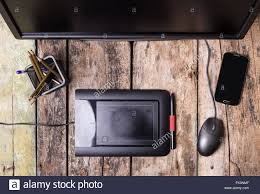 designer freelancer photographer or designer freelancer remote workplace at wooden