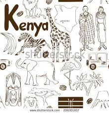 fun sketch kenya seamless pattern stock vector 208301857