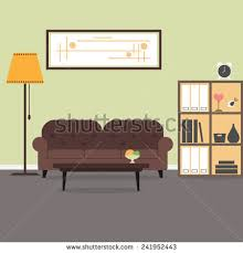 Bookcase Lamps Vector Illustration Living Room Arrangement Vector Stock Vector