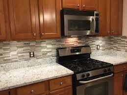 installing backsplash kitchen done installing backsplash countertops gray subway mosaic