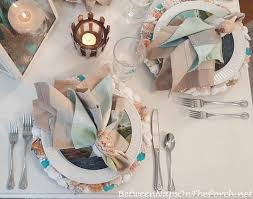 Table Setting Chargers - beach nautical table setting with diy shell u0026 sea glass chargers