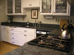 vintage kitchen design with black soapstone kitchen countertops