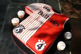 red and white bulldog basketball baseball jersey birthday cake