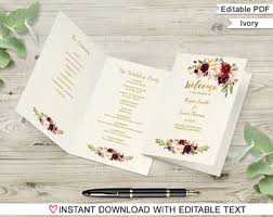 folded wedding program template printable marsala wedding program template ceremony program