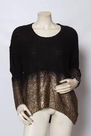 bar iii womens 12031 black gold ombre foil knit sweater top m ebay