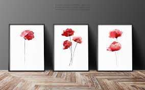poppy home decor red poppies set of 3 abstract flower painting floral gift