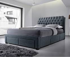 alexander dark grey fabric 4 drawer modern storage bed 3013