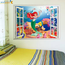 online get cheap girl wall decal aliexpress com alibaba group mermaid underwater world wall stickers for kids rooms home decoration diy 3d window sticker wall