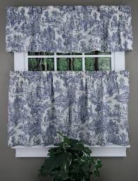 Toile Cafe Curtains Park Toile Valance And Tier Pair Blue Ellis