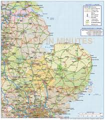 France Rail Map by Digital Vector East England County Road And Rail Map 1m Scale