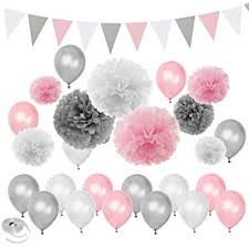 pink and silver baby shower pink silver white themed baby shower party decorations