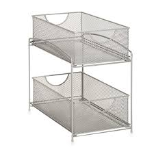 amazon com org 2 tier mesh double sliding cabinet basket in org 2 tier mesh double sliding cabinet basket in silver kitchen dining
