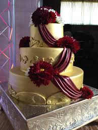 maroon and gold wedding gold wedding cake with maroon swags cakecentral